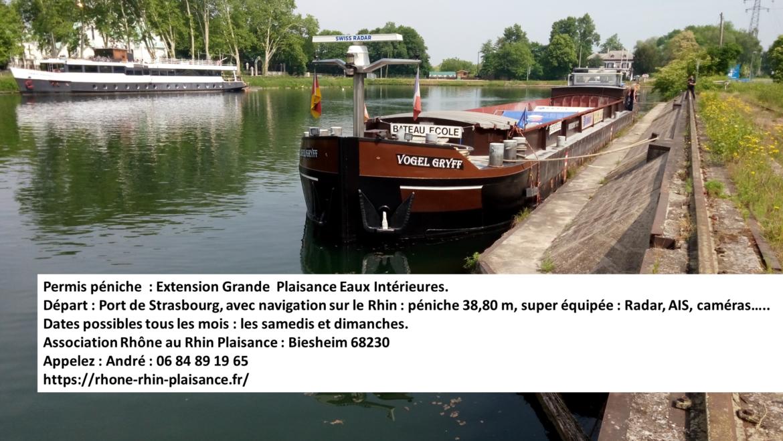 EXTENSION GRANDE PLAISANCE EAUX INTERIEURES : 2 places dispo 5 et 6 juin 2021